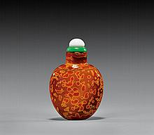 ANTIQUE RED & ORANGE GLASS SNUFF BOTTLE