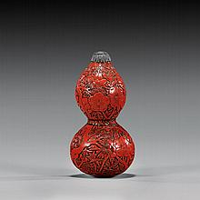 CARVED RED LACQUER SNUFF BOTTLE