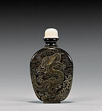 LACQUERED AND INCISED SNUFF BOTTLE