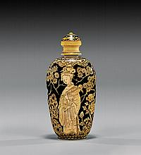 ANTIQUE LACQUERED IVORY SNUFF BOTTLE