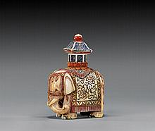 CARVED IVORY SNUFF BOTTLE: Elephant
