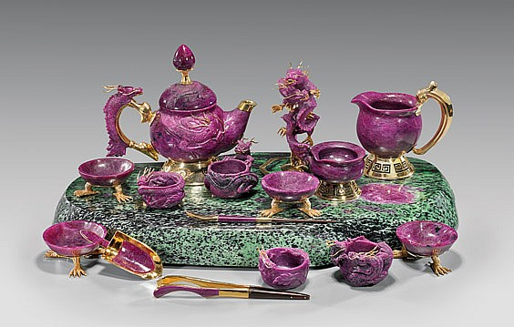IMPORTANT CARVED RUBY DRAGON TEA SET