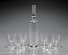 EIGHT-PIECE STEUBEN GLASS LIQUOR SET
