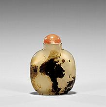 ANTIQUE CARVED AGATE SNUFF BOTTLE