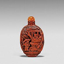 CARVED CINNABAR LACQUER SNUFF BOTTLE