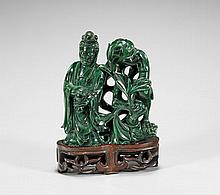 CARVED MALACHITE GUANYIN GROUP