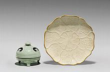 TWO CHINESE PORCELAINS: Censer & Dish