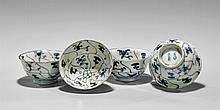 FOUR PROVINCIAL BLUE & WHITE TEA BOWLS