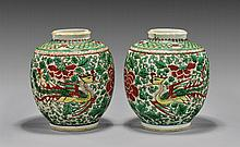 PAIR ANTIQUE FAMILLE VERTE PORCELAIN JARS