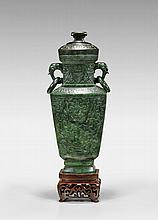 CARVED SPINACH JADE URN & COVER
