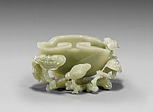 CARVED CELADON JADE COUPE