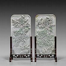 PAIR FINE JADEITE TABLESCREENS: Four Seasons