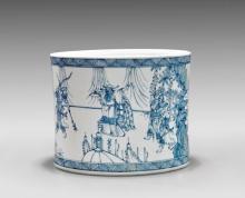 LARGE BLUE & WHITE PORCELAIN BRUSHPOT