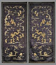 PAIR ANTIQUE CHINESE SILK EMBROIDERIES