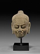 KHMER SANDSTONE HEAD OF JAYAVARMAN