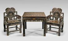 SET CHINESE LACQUER FURNITURE