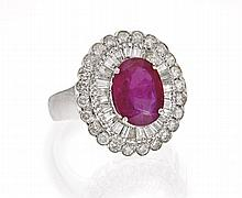 RUBY AND DIAMOND IN WHITE GOLD RING