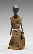 Early American Carved Wood and Painted Cloth Doll