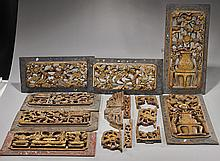 Eight Antique Chinese Carved Wood Panels