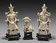 Three Ivorine Items: Emperor, Empress & Lion
