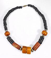 Primitive Amber-like & Wood Bead Necklace