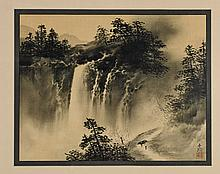 Pair Old Chinese Paper Landscape Paintings
