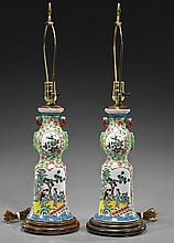 Pair Japanese Enameled Porcelain Vases/Lamps