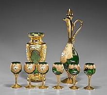 Set of Enameled Bohemian Glassware