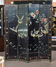 Chinese Four-Panel Lacquer Screen: Cranes