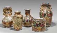 Five Chinese Kutani-Style Porcelains