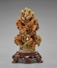 Chinese Carved Soapstone Phoenix & Flowers
