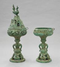Pair Tall Chinese Bronze Pedestal Bowls