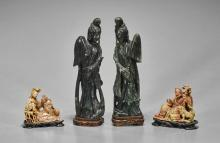 Four Chinese Carved Soapstone Figures