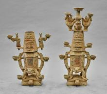Pair Chinese Painted Pottery Oil Lamps
