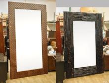 Two Large Mirrors: Leather & Wood