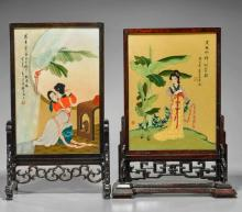 Two Chinese Painted Wood Tablescreens