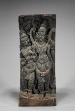Old Indian Carved Wood Temple Figures
