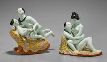 Pair Chinese Famille Rose Erotic Couples