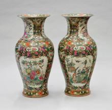 Pair Tall & Old Chinese Rose Medallion Vases