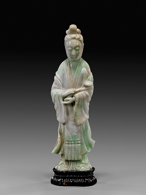 TALL ANTIQUE CARVED JADEITE GUANYIN
