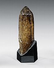 LARGE DOUBLE-TERMINATED SMOKY CITRINE POINT ON LIGHT BASE