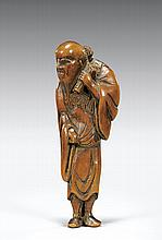18TH CENTURY CARVED WOOD NETSUKE: Sennin