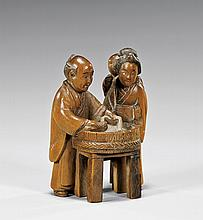 CARVED WOOD NETSUKE: Figures & Basin