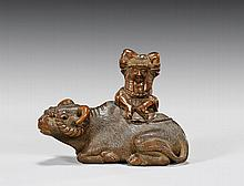ANTIQUE CARVED WOOD NETSUKE: Boy & Buffalo