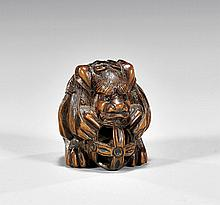 CARVED WOOD NETSUKE: Shi-Shi