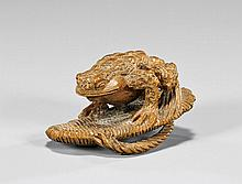 CARVED WOOD NETSUKE: Toad on Sandal