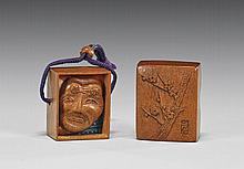 CARVED WOOD SHUNGA NETSUKE: Box & Mask