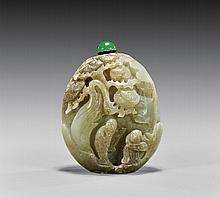 CARVED CELADON JADE SNUFF BOTTLE