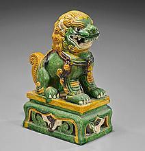 Chinese Sancai Glazed Pottery Guardian Lion