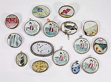 Group of Antique Chinese Pendants: Porcelain Shards & Agate